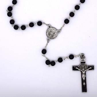 St. Benedict Rosary, Black Beads, 5 mm.