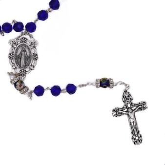 Rosary with Midnight Blue Crystal and Cloisonné Beads with Miraculous Medal, 7 mm Beads