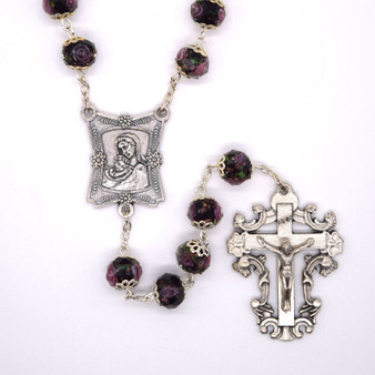 Royal Crystal Rosary with 7 mm Dark Millefiori Beads