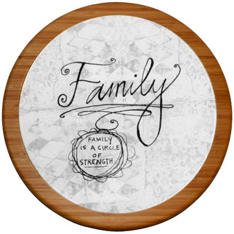 "Demdaco Lazy Susan and Detachable Cutting Board, ""Family: Family Is a Circle of Strength"""