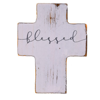 "Small Wood Cross. ""Blessed,"" 3.5"" x 2.75"" x 1.125"""