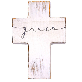 "Small Wood Cross. ""Grace,"" 4.5"" x 3.125"" x 1.125"""