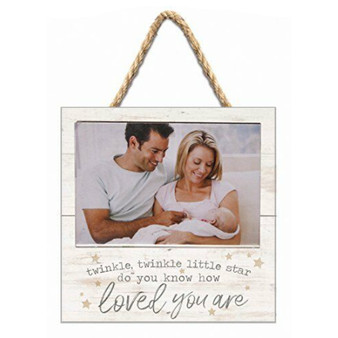 "Wood Photo Frame, ""Twinkle Twinkle Little Star, Do You Know How Loved You Are,"" Holds 6"" x 4"" Photo"