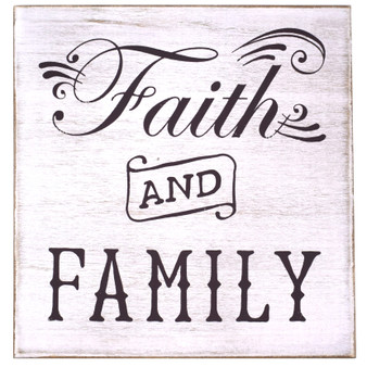 """Faith and Family"" Magnetic Wall Plaque, 8.5"" x 8.5"""