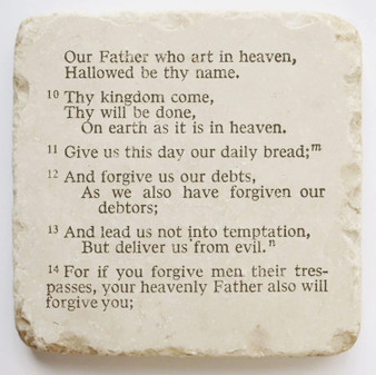 "The Lord's Prayer Scripture Stone, 4"" x 4"" x 1"""