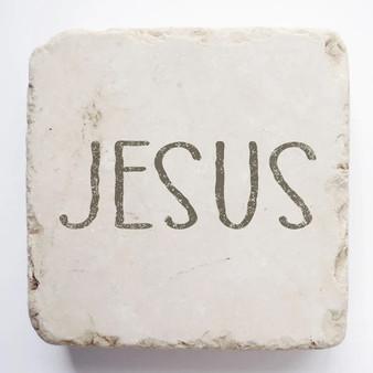 """Jesus"" Scripture Stone, 2"" x 2"" x 1"""