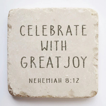 """Kindness"" Scripture Stone, 2"" x 2"" x 1"", ""Celebrate with great joy"""