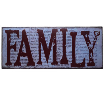"""Family"" Rustic Wall Hanging, 12"" x 5"" x 1"""