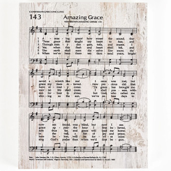 """Amazing Grace"" Music Score and Lyrics,  5.5"" x 7.25""."