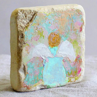 """Surrounded"" Original Hand Painted Angel, on Distressed Marble, 4"" x 4"" x 1""."