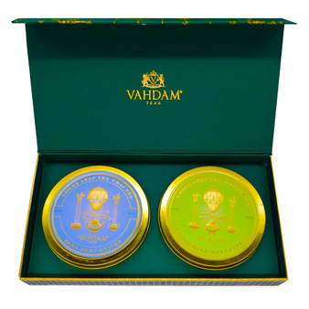Vahdam Teas Sampler with Two Decorative Caddies, Sampler includes Earl Grey Spiced and Chamomile Mint Citrus.