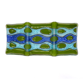 """Abstract Riverbed Three Section Trinket Tray, 9"""" x 4"""" x .75"""""""