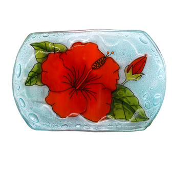 Recycled Glass Hibiscus Soap Dish
