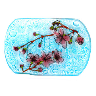 Recycled Glass Cherry Blossom Soap Dish