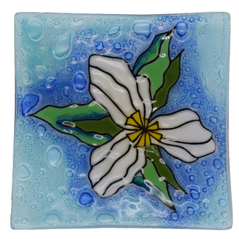 Recycled Glass Trillium Flower Baubles 'n Bangles Dish
