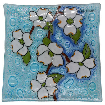 "Recycled Glass Art Dish: Dogwood, About 5"" x 5"""