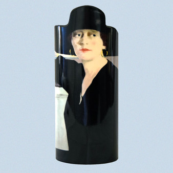 "Collector Vase, Francis Cadell's ""Lady in Black,"" about 9.5"" x 4"""