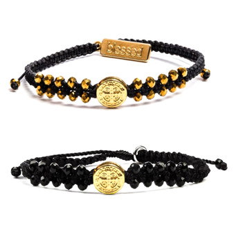 Stairway to Heaven Crystal Benedictine Bracelet with Gold Tone Medal, Inspirational Card, and Gold or Black Crystals