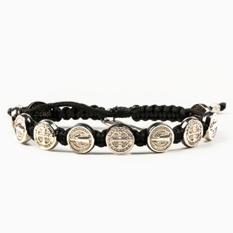 Benedictine Blessing Bracelet with Silver Tone St. Benedict Medals and Inspirational Card