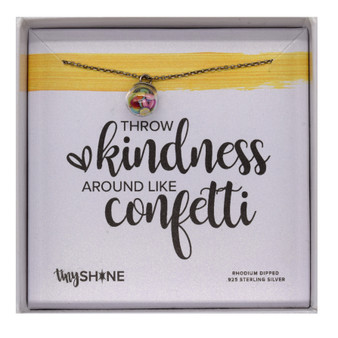 """Throw Kindness Around Like Confetti,"" Sterling Silver Rhodium Dipped, 14"" Chain"