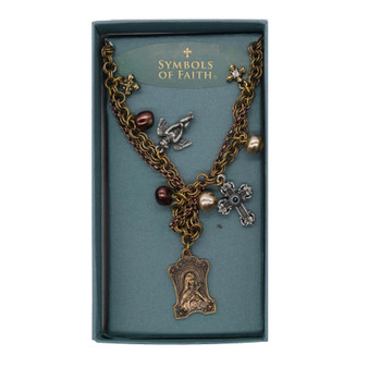 St. Thérèse of Lisieux Brass and Silver Tone Necklace with Angel, Crosses and Charms