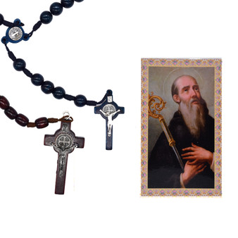 St. Benedict Wood Beads in Midnight Blue or Brown