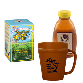 Charleston Tea Plantation American Classic Tea and 16 oz. Abbot's Table Honey, Includes White Mug with Black Graphics