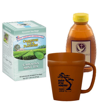 Charleston Tea Plantation Mint Tea and 16 oz. Abbot's Table Honey, Includes Terracotta Mug with Black Graphics