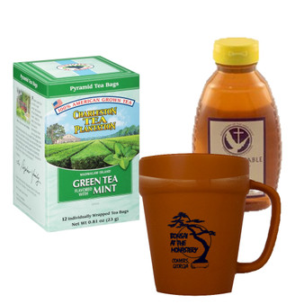 Charleston Tea Plantation Green Tea Mint and 16 oz. Abbot's Table Honey, Includes Terracotta Mug with Black Graphics