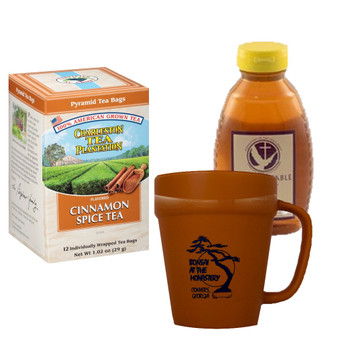 Charleston Tea Plantation Cinnamon Spice  Tea and 16 oz. Abbot's Table Honey, Includes Terracotta Mug with Black Graphics