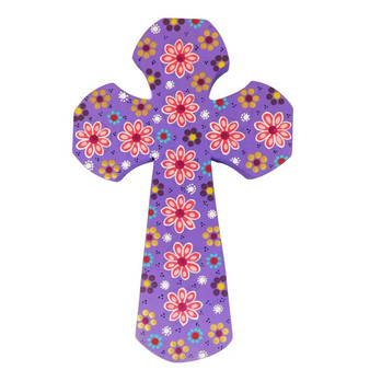 Lavender Wood Cross Carved and Painted by Artist Paula Sanchez.