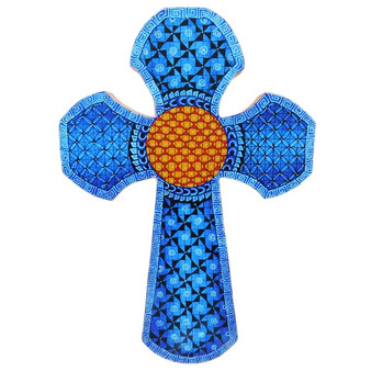 Blue Wood Geometric Cross with Orange Center Carved and Painted by Artist Paula Sanchez