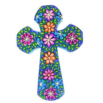 Blue Wood Cross Carved and Painted by Artist Paula Sanchez: