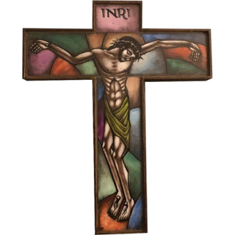 Vintage Art Deco Wood and Handmade Painted Glass Wall Crucifix by the Brothers Van Paridon, from Netherlands, Number 256