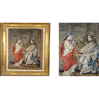 Magnificent 1848 French Silk Embroidery of Jesus and the Samaritan Woman