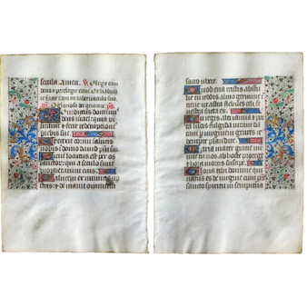 Complete Canticle of Zechariah, Illuminated Book of Hours, 2 Vellum Leaves, 4 Pages, France Circa 1475