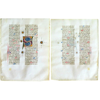 Illuminated Breviary Paper, Large Color S with Gold, from Northern Italy, Circa 1460.