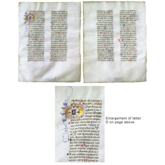 Illuminated Breviary Leaf, Vellum, with Gold Letter and Line Drawing, Circa 1460