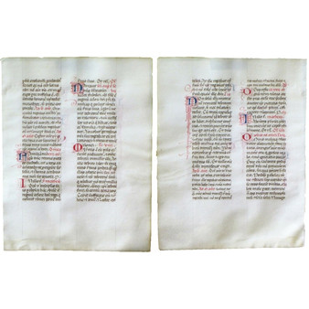 Breviary Leaf, Vellum, Large Letters in Red and Blue, circa 1460