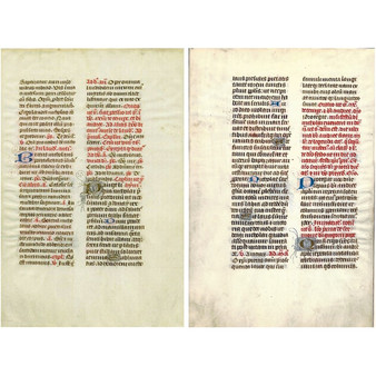French Illuminated Vellum Manuscript Leaf from Prayer Book, circa 1400s, Matted