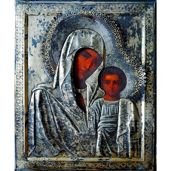 Our Lady of Kazan Icon, Wood and Silver, Late 19th Century