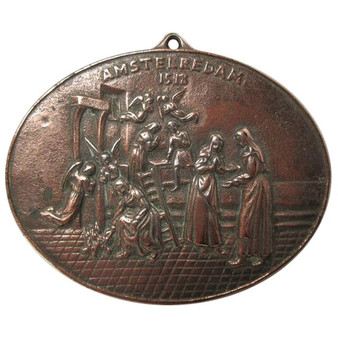 "Amsterdam Oval Bronze Plaque, 1518, ""The Miracle of Amsterdam"""
