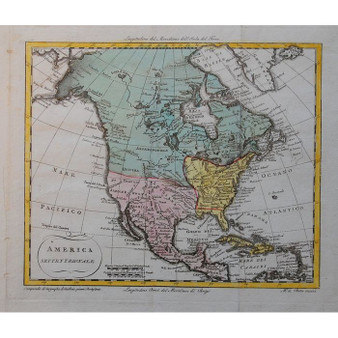 North America Copper Engraving 1801