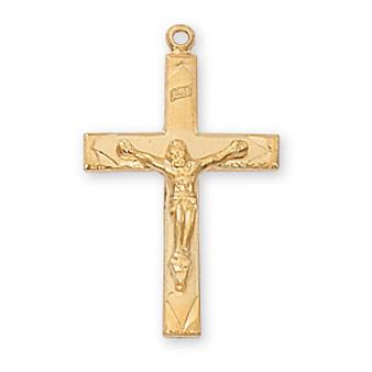 """18 ct. Gold on Sterling Crucifix with 18"""" Gold Plated Chain"""