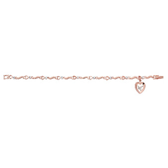 """Holy Spirit and Copper Heart with Crystal Stone, Two Tone Rose Gold  Plated Pewter Medal Bracelet 7 1/2"""""""