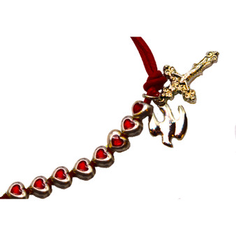 Holy Spirit and Crucifix Red Rope Bracelet with Silver Toned Metal and Glass Hearts