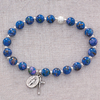 Silver Crucifix and Miraculous Medal Blue Venetian Glass Beads Stretch Bracelet for Adults