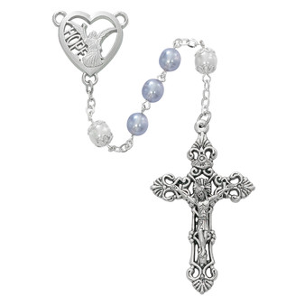 Angel of Hope Rosary with Stunning Lavender and Capped Pearl 7mm Beads with Rhodium Plated Pewter Center and Silver Oxidized Crucifix