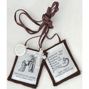 Our Lady of Mt. Carmel Brown Scapular 100% Wool, with St. Benedict Medal and Crucifix.