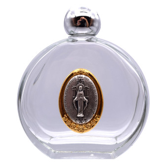 Holy Water Bottle with Miraculous Medal Symbols